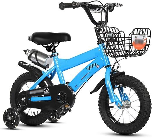 Bicicleta para Niños,2-7 Años Niños Y Niñas Cruiser Bike,con Ruedas De Entrenamiento Y Freno De Mano Bicicleta Infantil Azul D 12inch: Amazon.es: Jardín