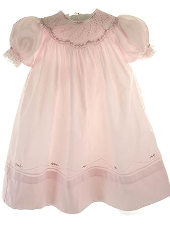 cc0207c1c Amazon.com  Girls Pink Smocked Portrait Bishop Dress Feltman ...