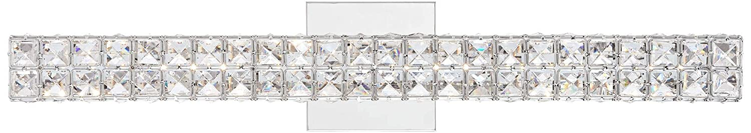 Romantica Modern Wall Light LED Chrome Hardwired 26 Wide Light Bar Fixture Clear Crystal Glass for Bathroom Vanity Mirror – Vienna Full Spectrum