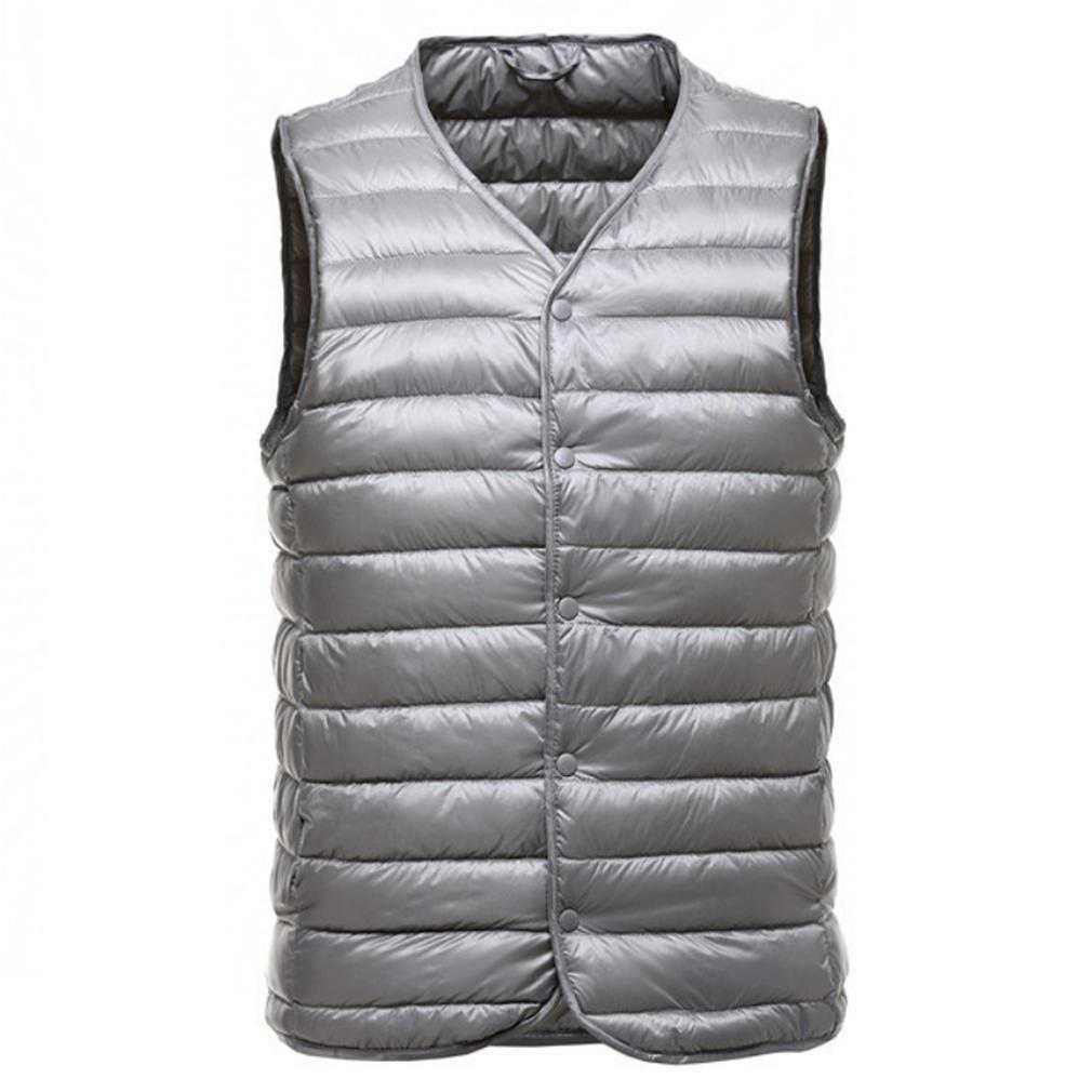 YANXH Leichte Modelle Männer V Kragen Daunenweste Keep Warm Außenbekleidung Nehmen Sie innerhalb Weste