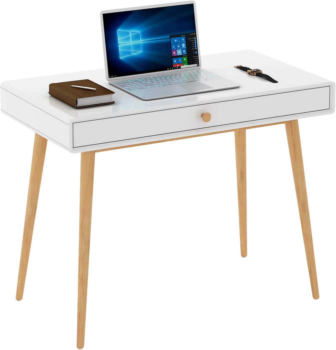 Home Office Writing Desk Computer Desk with Drawer, Simple Modern Makeup Vanity Table, White