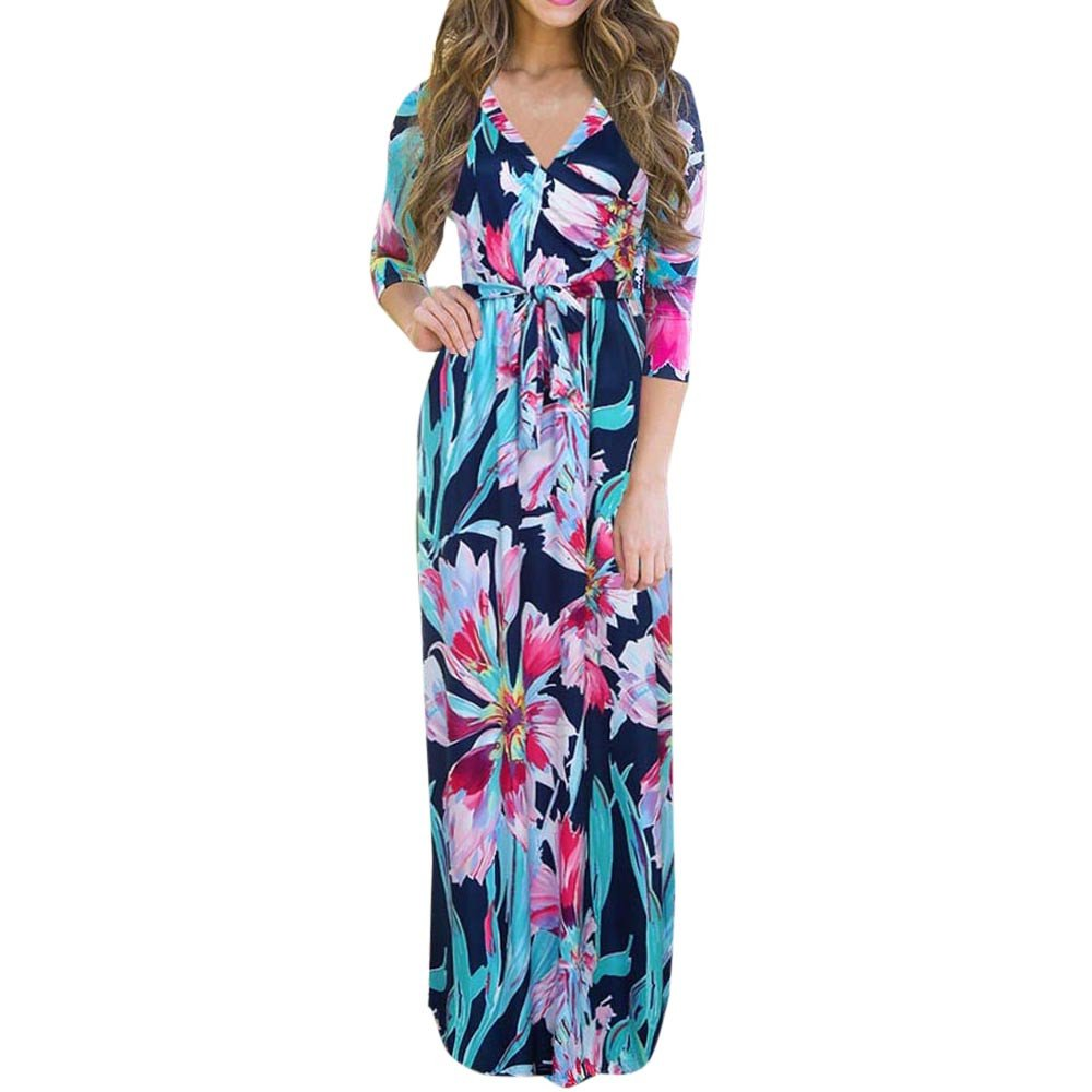 Long Dress, Challyhope Women V Neck Boho Maxi Evening Party Beach Floral Sundress (XL, Blue)