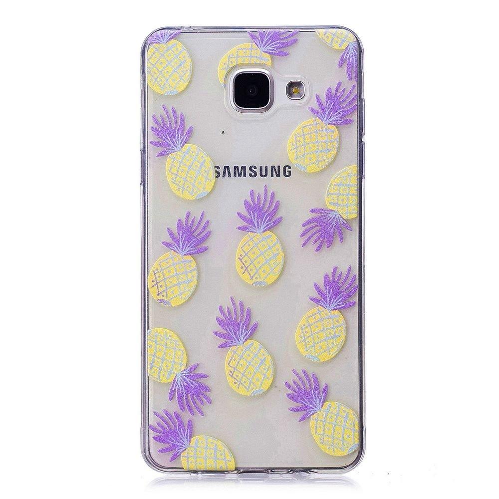 Fine Finet Samsung Galaxy A3 2016/A310 Funda, Transparente Suave TPU Silicona Flexible Gel Funda Resistente a los Arañ azos Anti Choque Protectora Case (Piñ as)