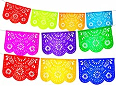 16 feet long Mexican Papel picado banner. Tissue paper Each panel is 16 x 14 in Made of hand painted Tissue Paper Great for classroom decoration, super bowl party supplies, parties
