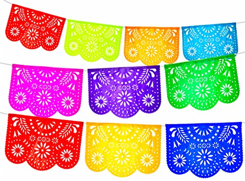 Fiesta Brands 2 Pack. Mexican Papel Picado Banner.Colores de Primavera.Vibrant Colors Tissue Paper. Large Size Panels. Multicolored Flowers Design]()