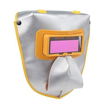 Shuzhen,Equipo de protección para los Ojos para la Soldadura de la mascarilla Facial de la Lente de Filtro Solar de luz Variable automática(Color:Plata): ...