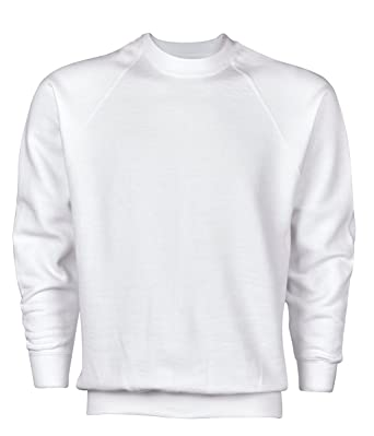 d018c1d608 Russell Mens Pullover Crew Neck Plain Long Sleeve Casual Jersey Jumper  Sweater - White - Large  Amazon.co.uk  Clothing