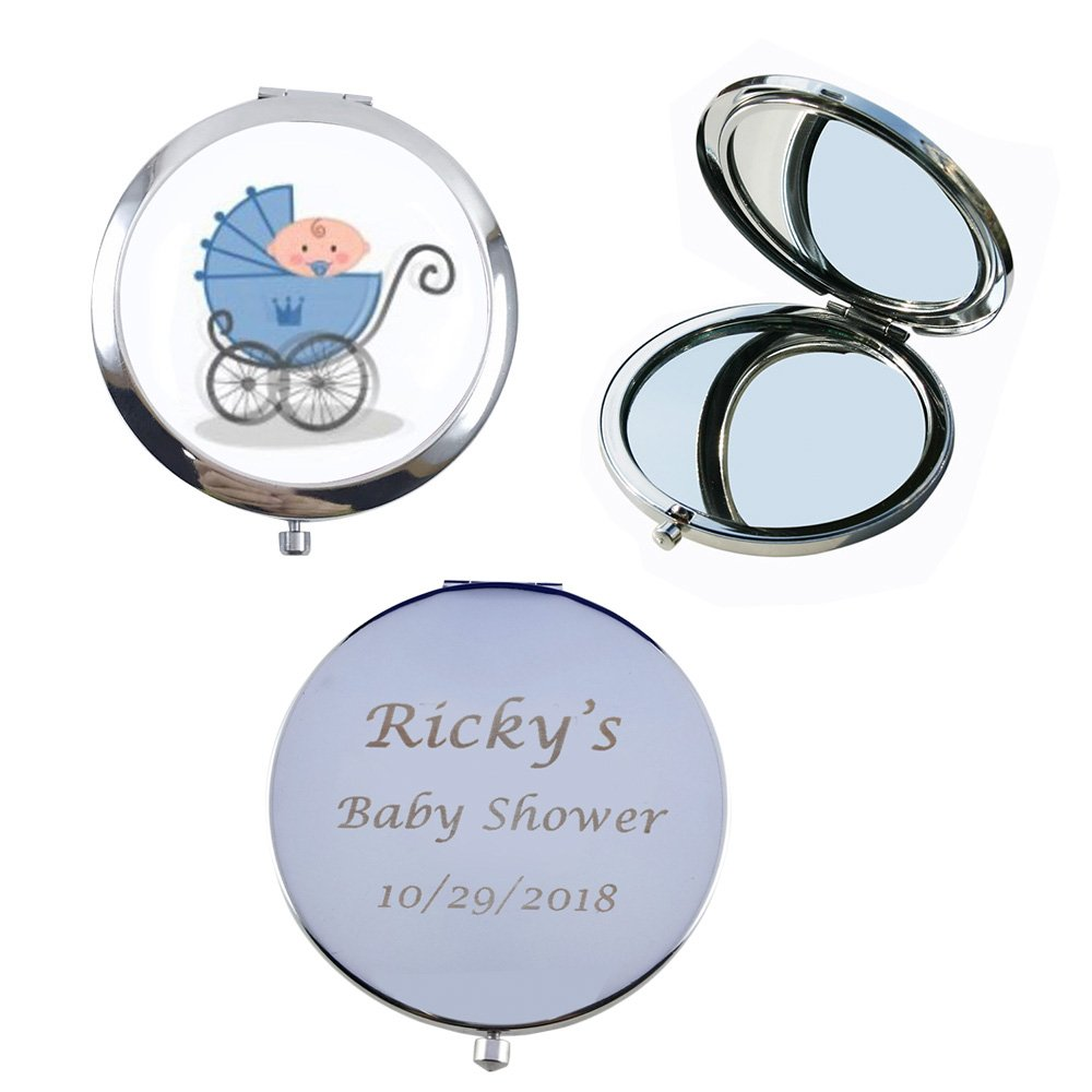 12 Pcs Personalized Compact Mirror Favors Baby Boy Shower Blue/Makeup Purse Mirrors with Organza Bag