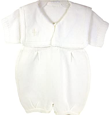 8775ad3c742b Baby s Trousseau White Knit Christening Romper Outfit   Hat-9 months ...