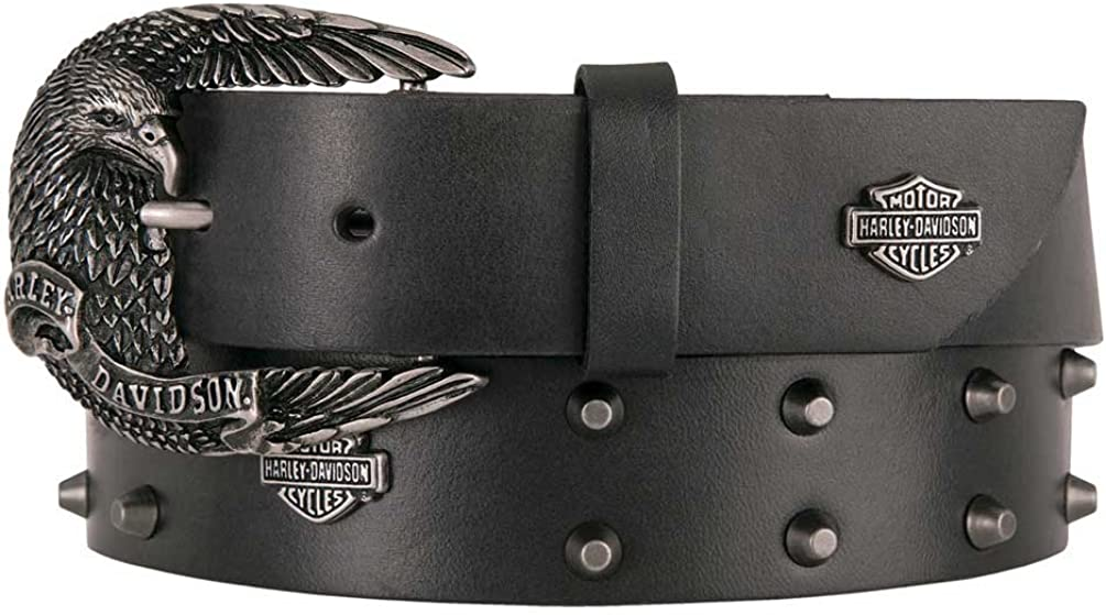 Harley-Davidson Womens Rocker Heavy Studded Black Leather Belt with Rhinestones
