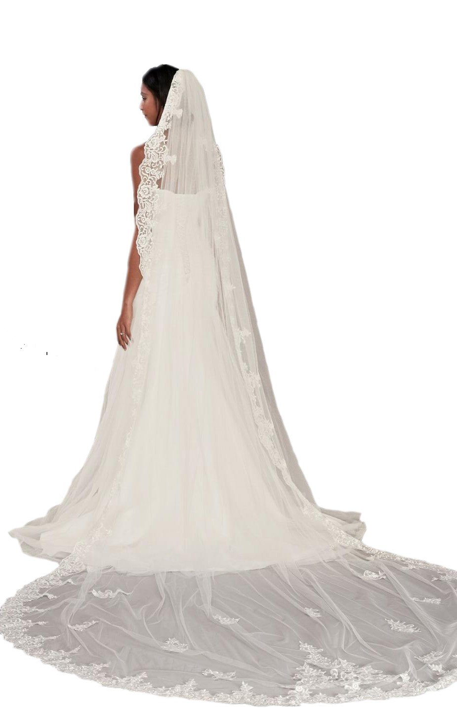 Passat Pale Ivory Single-Tier 3M Cathedral Corded Lace sparkle wedding veil with Scalloped Edge DB46