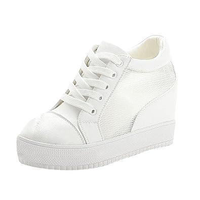 d78da8e7b03 Yilaiyiqu 1 Popular Women s Casual Wedge Platform Sneakers Lace Up Hidden  Heel Mesh Sport Shoes White7.