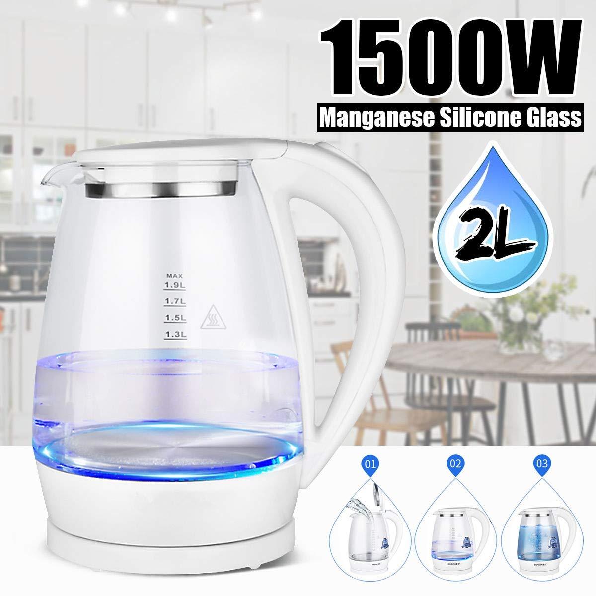 Acquisto 2L 1500W LED blu elettrico portatile di illuminazione di acqua calda per tè e caffè Bollitore di vetro rapido riscaldatore pentola 220V Prezzi offerte