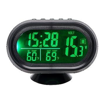 iTimo Automobiles Reloj Termómetro Voltaje Tester Doble Temperatura Dashboard LED Relojes Luz Reloj Adorno de Coche Calibre Voltímetro (Verde): Amazon.es: ...