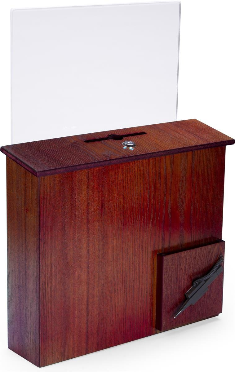 Displays2go Wood Suggestion Box with Hinged Locking Door Pen, and Pocket, Wall Mount or Countertop, Red Mahogany (DBWACSHBRM)
