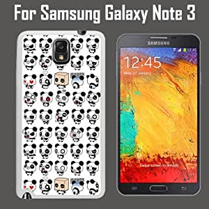 Pandas Emoji Pattern Custom Case/ Cover/Skin *NEW* Case for Samsung Galaxy Note 3 - White - Plastic Case (Ships from CA) Custom Protective Case , Design Case-ATT Verizon T-mobile Sprint ,Friendly Packaging - Slim Case by icecream design