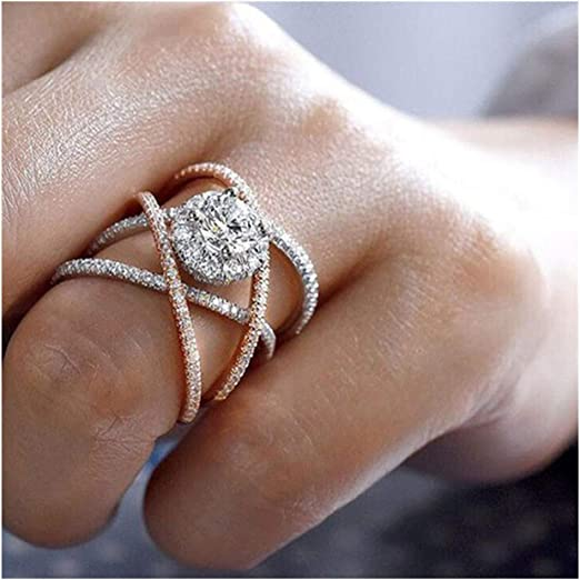 Amazon Com Big Sale Elegant Diamond Fine Ring Charm Creative Rings Wedding Band Engagement Rings For Women Rose Gold A 10 Home Kitchen