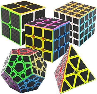 Coolzon Puzzle Cubes Megaminx + Pyraminx + 2x2x2 + 3x3x3 + 4x4x4 5 Pack in Giftbox Cubo Magico con Pegatina de Fibra de Carbono Velocidad: Amazon.es: Juguetes y juegos