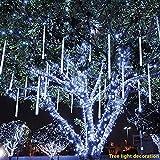 Lotus.flower LED Meteor Shower Rain Lights - Waterproof Drop Snow Falling Raindrop - Cascading Lights for Christmas Tree Garden Wedding Xmas Home Décor (White)