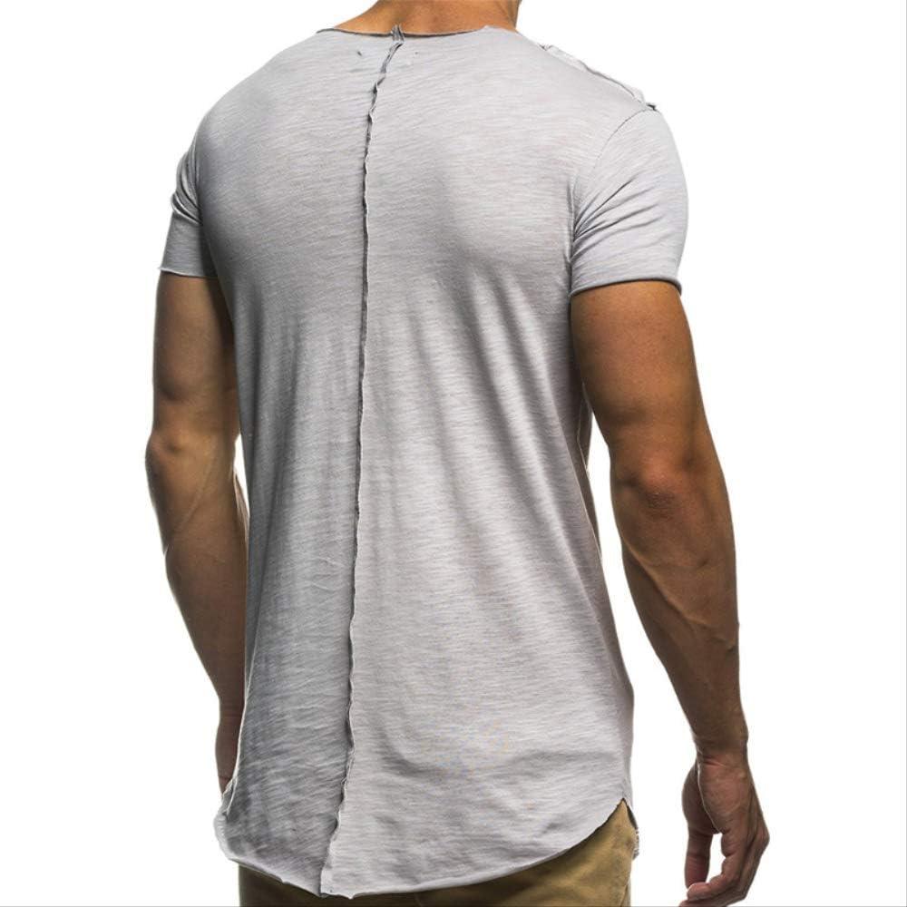Hombres Camiseta Ocasional De La Camisa De Manga Corta 2XL Plata: Amazon.es: Ropa y accesorios