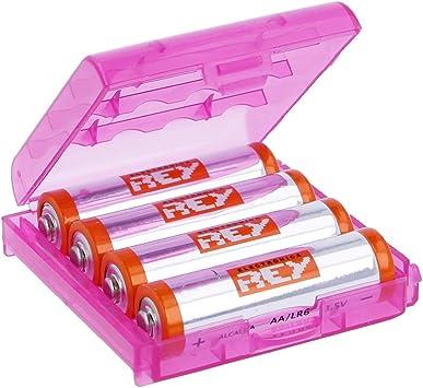Caja Box Almacenado para Pilas AA, Blister Plástico Estuche Cubierta Color Rosa: Amazon.es: Electrónica