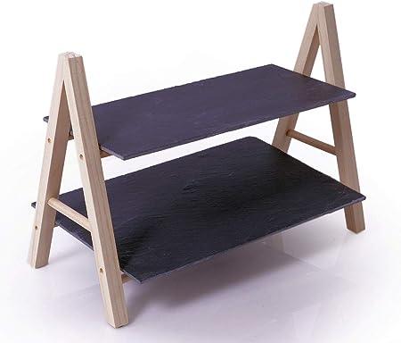 Pizarra expositor con 2 pisos – 36 cm piso – Soporte de 2 pisos – Bandeja de servir con estructura de madera: Amazon.es: Hogar