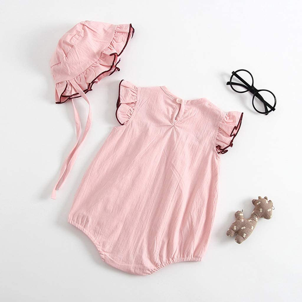 Hat 2PCS Outfits Clothes Sets Fashion Sunsuit 6-24Months TOPBIGGER 2020 New Newborn Baby Girls Boys Kid Solid Knitted Romper Bodysuit Sleeveless One Piece Jumpsuit