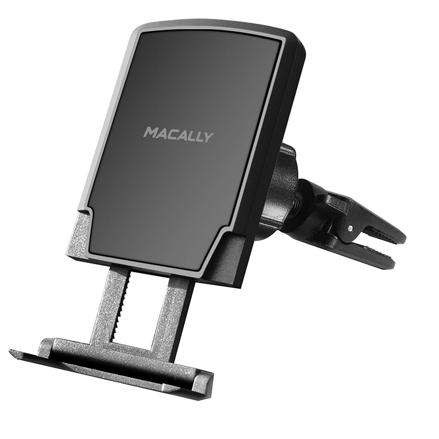 Macally Universal Magnetic Air Vent Mount Car Phone Holder with Super Strong Magnet & Foot Support for iPhone XS XS Max XR X 8 8 Plus 7 7+ 6s 6s+ 6 SE Samsung Galaxy S9 S9+ S8 Edge S7 Note 5- MVENTMAG
