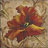 Ceramic Tile Mural - Poppy Damask II - by Tre Sorelle Studios - Kitchen backsplash / Bathroom shower