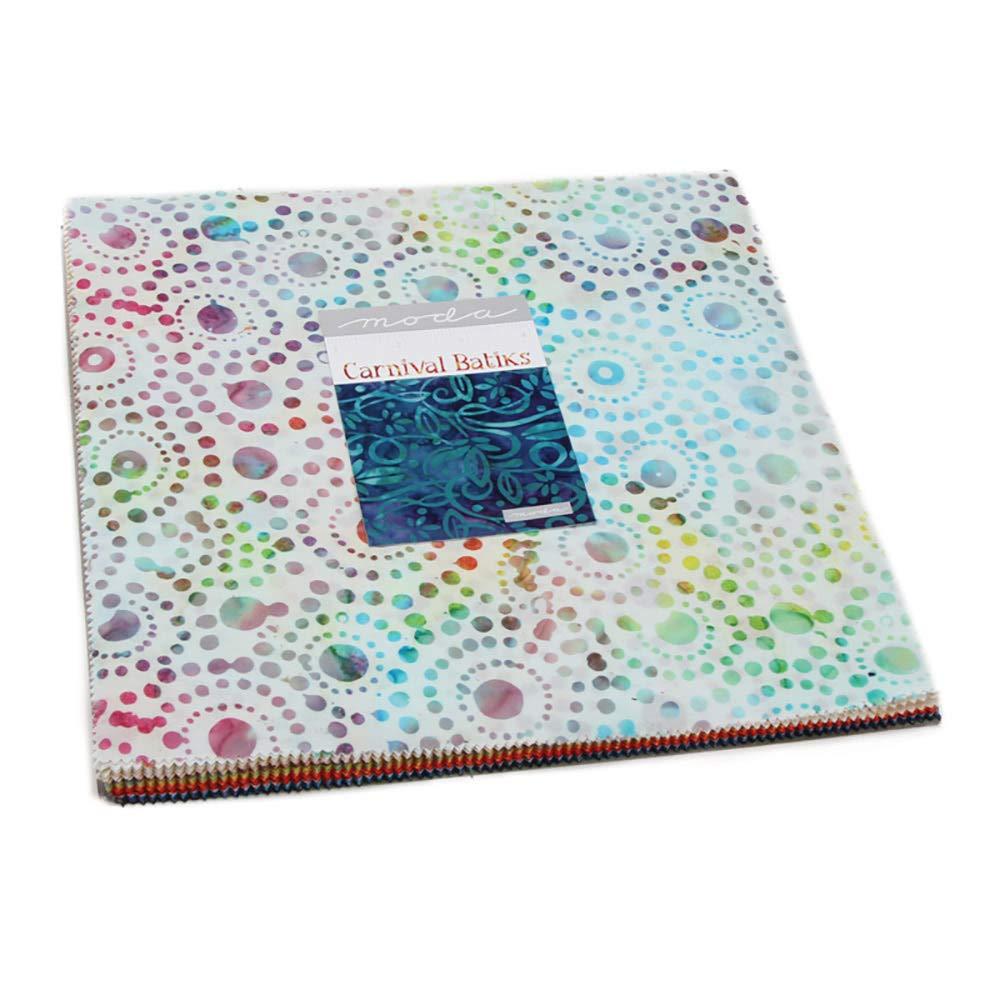 Carnival Batiks Layer Cake, 42-10 inch Precut Fabric Quilt Squares By Moda Fabrics 4348LC