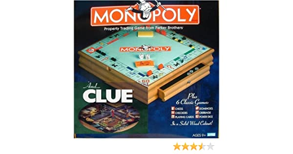 Amazon.com: Parker Brother Hasbro Wooden Board Games, Monopoly, Clue Plus 6  Other Board Games: Toys U0026 Games