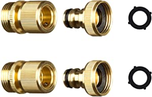 ADMA Garden Hose Quick Connector Solid Brass Connector Faucet to Garden Hose Adapter Fitting Water Hose Connectors 3/4 inch GHT with 2 Extra Washers(2)