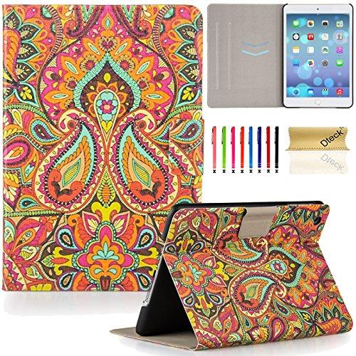 Dteck iPad Mini 1/2/3 Case- Lightweight Slim Shell Flip Stand PU Leather Case with Auto Sleep/Wake Feature Smart Cover for Apple iPad Mini 1/Mini 2/Mini 3 7.9 inch Tablet (India Flower)