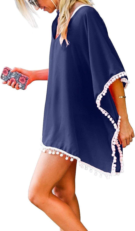 MIXIDON Copricostume da Bagno Donna Estate Abito da Spiaggia Mare Copricostume Parei Copri Costumi Kimono Scollo A V Beach Blouse in Pizzo Boho Bikini Cover Up Camicetta Maglia Tunica Kaftan Top