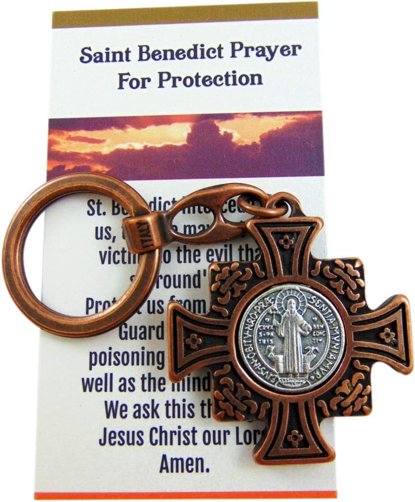 Westmon Works St Benedict Metal Keychain Saint Gift Set with Prayer for Protection Card