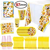 Konsait Emoji Birthday Party Supplies(97pcs), Faces Jumbo Pack Table Decor Set-Paper Plates, Disposable Party Cups, Loot Party Bags, Napkins, Straws, Spoons, Forks, Knives,Table Cover, Serves10