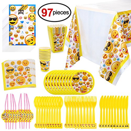 Emoji Birthday Party Supplies97pcs Faces Jumbo Pack Table Decor Set Paper Plates Disposable Cups Loot Bags Napkins Straws Spoons Forks
