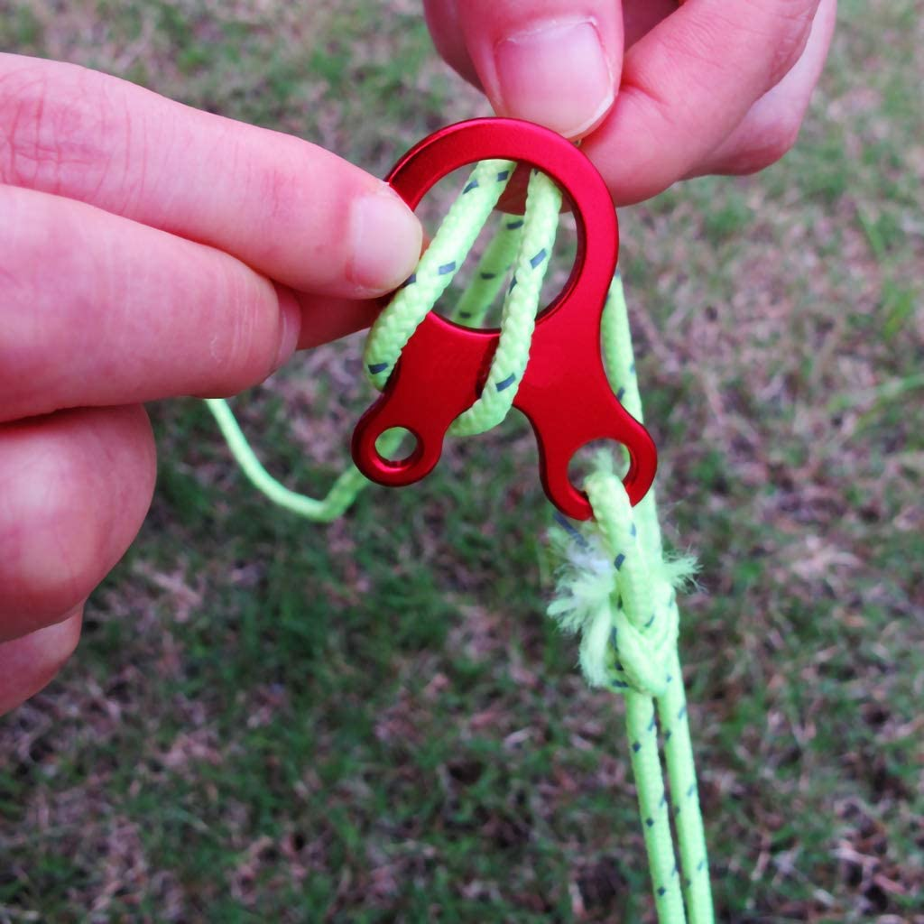 HuiDao 12Pcs Guyline Cord Adjuster Tent Tensioners Aluminum Alloy Rope Buckle Tensioner for Tent Camping Hiking Backpacking Outdoor Activity