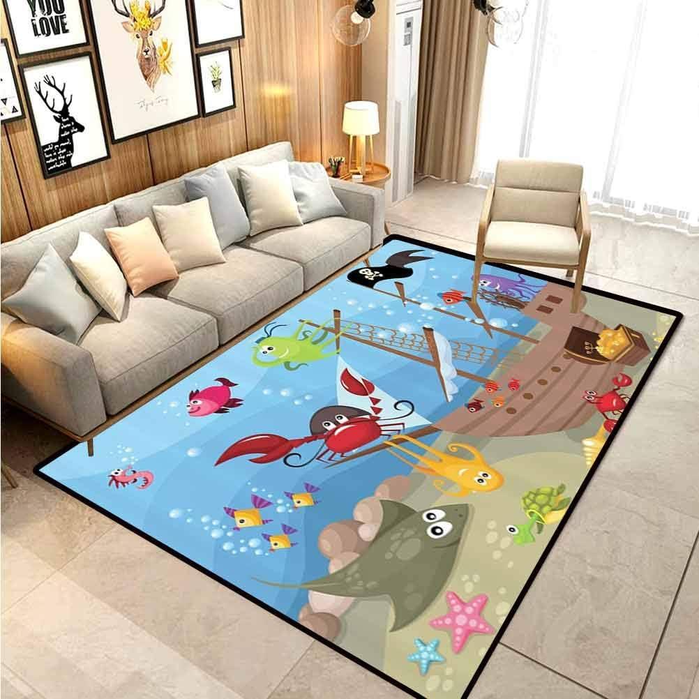 Amazon Com Kids Baby Nursery Decor Children Boys Girls Bedroom Rugs Ocean Octopus Treasure Sunken Ship Pirate Sail Boat Ahoy Carpet Protector For Boys Bathroom 6 5 X 9 8 Ft Kitchen Dining