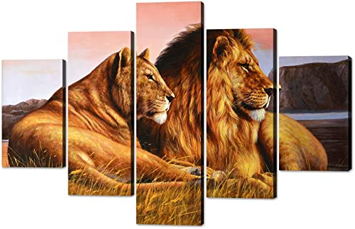 5 Pieces Wild Lion and Lioness Wall Art Picture