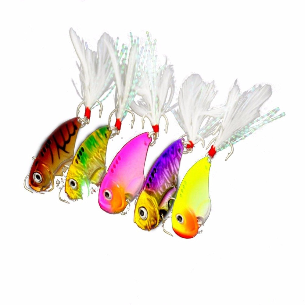 5pcs/set VIB Spoon Blade Metal Fishing Lure Multicolor Bream Bass Flathead 5.5cm by Isguin (Image #1)