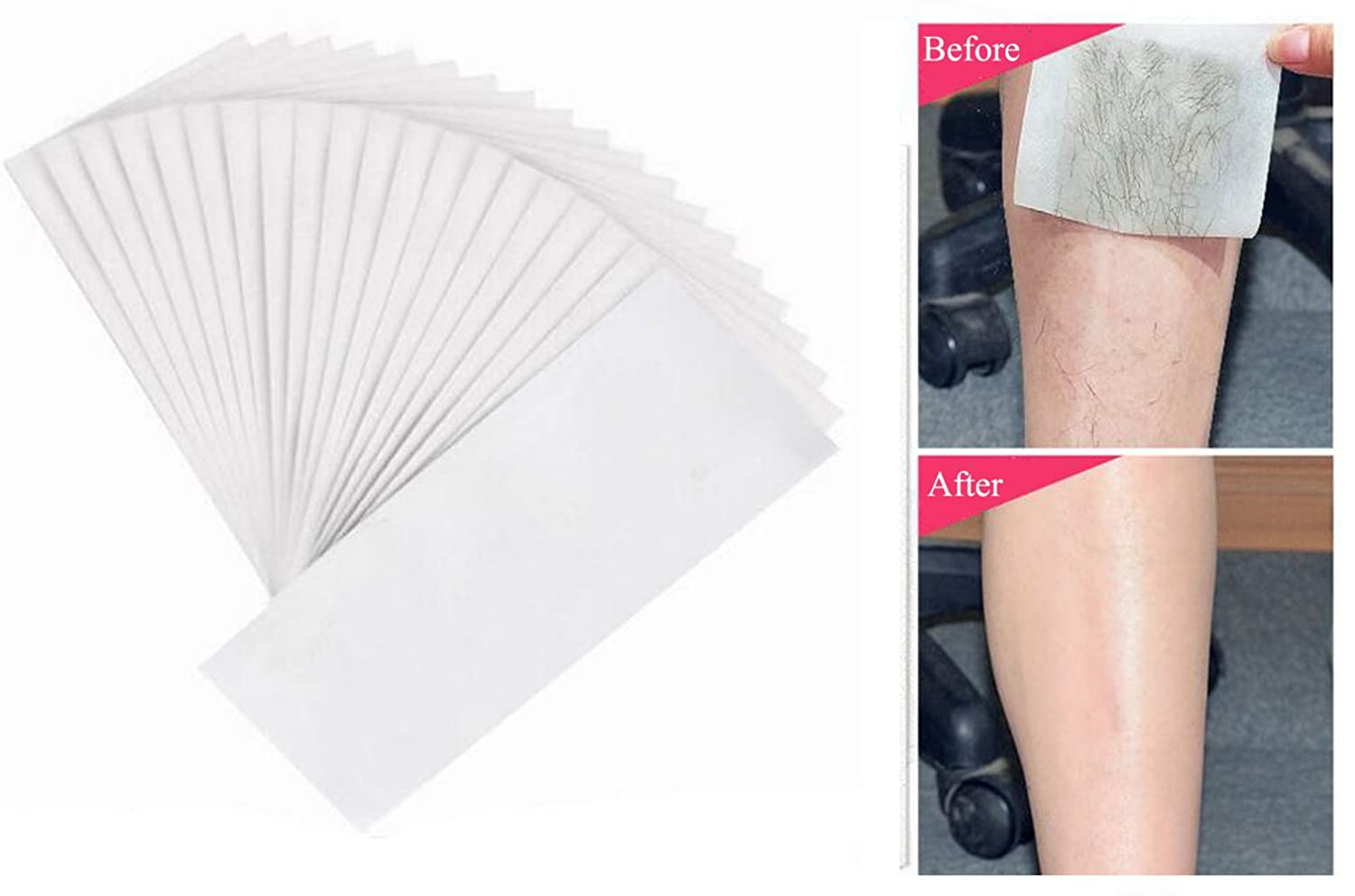 100PCS White Disposable Non-Woven Body Leg and Facial Wax Waxing Strips Epilator Professional Hair Removal Removing Tool Depilatory Paper for Unisex Men and Women UPSTORE