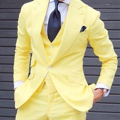 GFRBJK Trajes a Medida de Moda de Hombre Amarillo Flaco Aseo ...