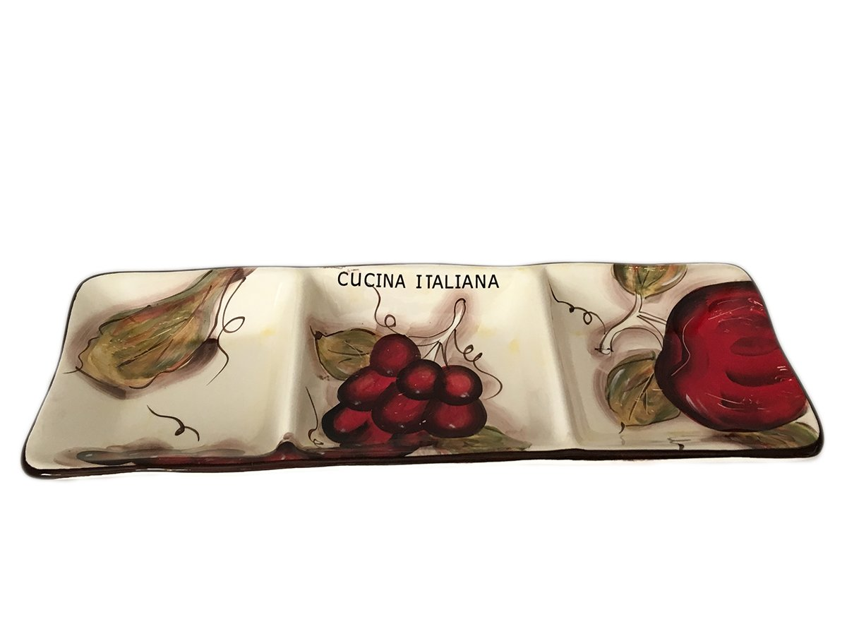 Classic Cucina Italiana Ceramic 3 Section Fruit Design Serving Plate 18'' by BohemianGifts (Image #2)
