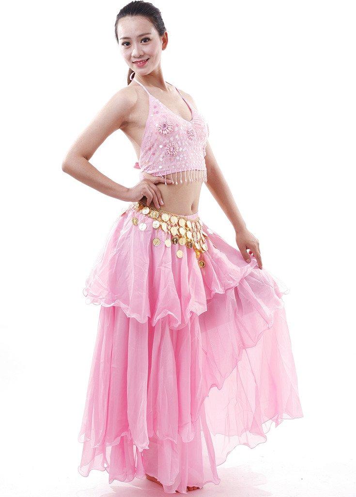 Astage Mujer Danza Disfraz Danza del Vientre Bra Falda Set Indian Dance BH Set Rosa: Amazon.es: Deportes y aire libre