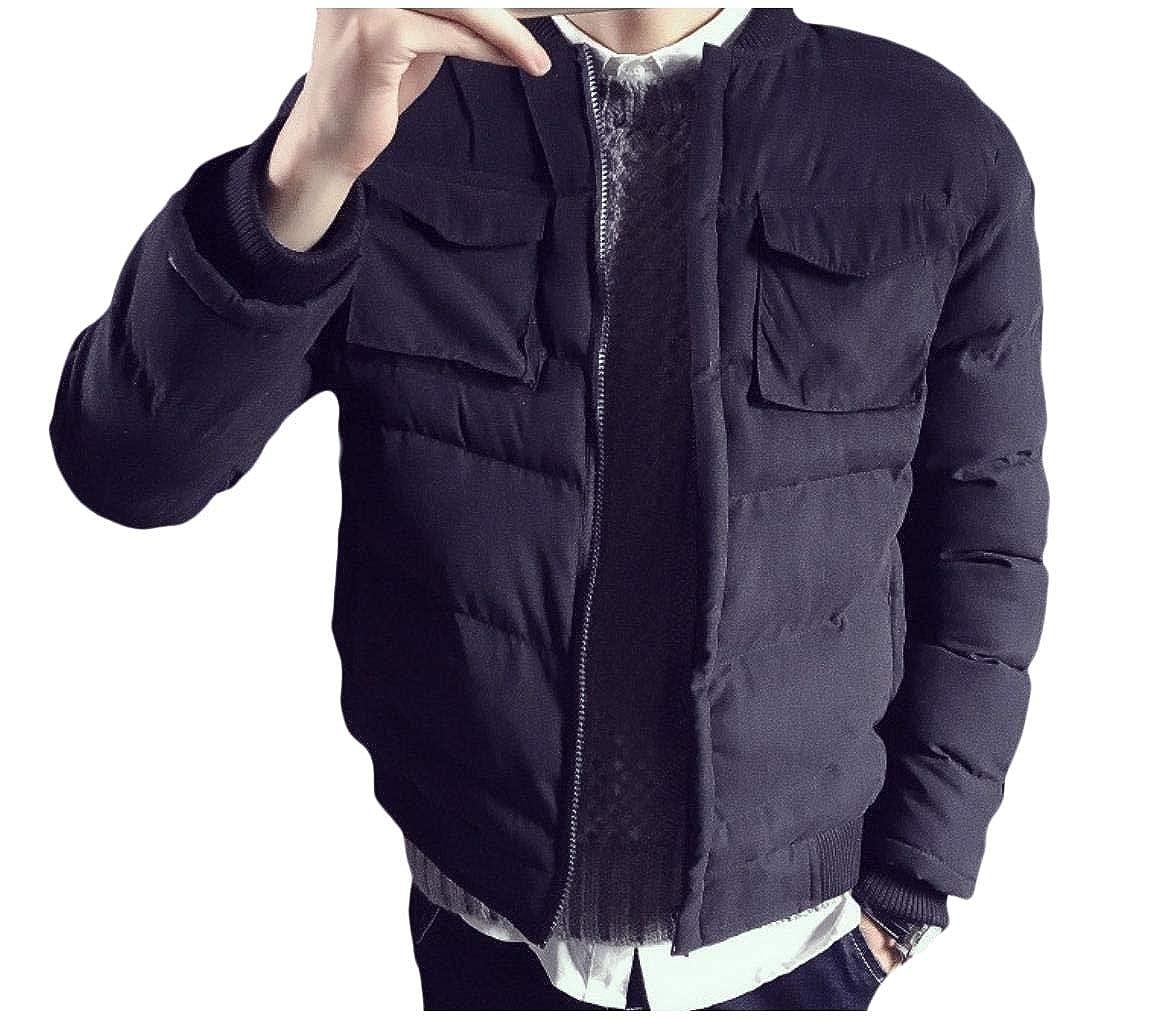 YUNY Men Casual Pocket Full-Zip Baseball Short Parka Jacket Coat Outwear Black S