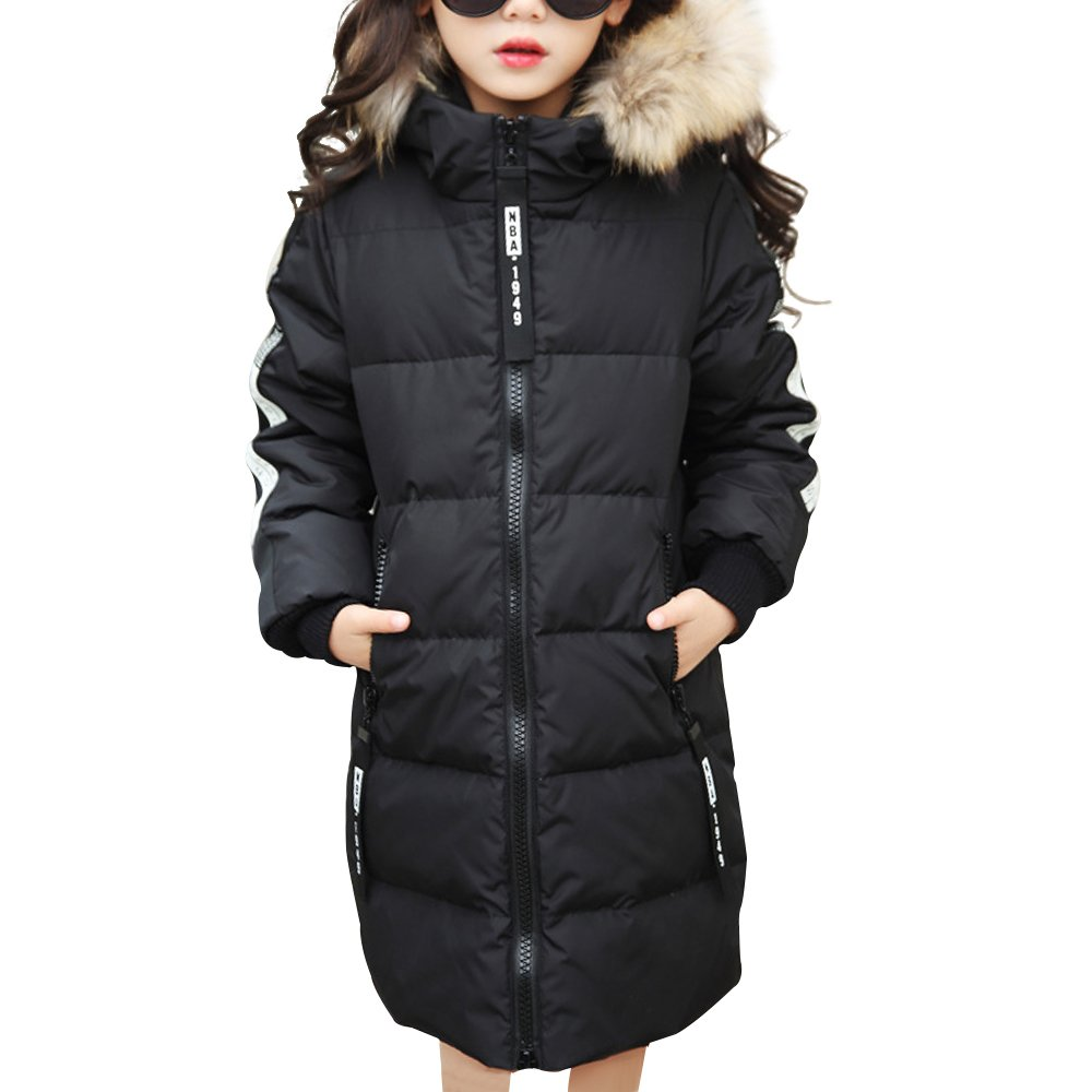 Phorecys Girls Winter Coats School Quilted Jacket with Faux Fur Trim Hood