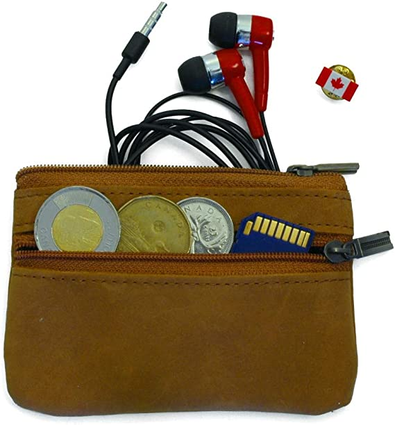 Based in Toronto MooseLand/™ Leather Zipper Coin Pouch Purse Bag Wallet with Key Ring Dark Brown