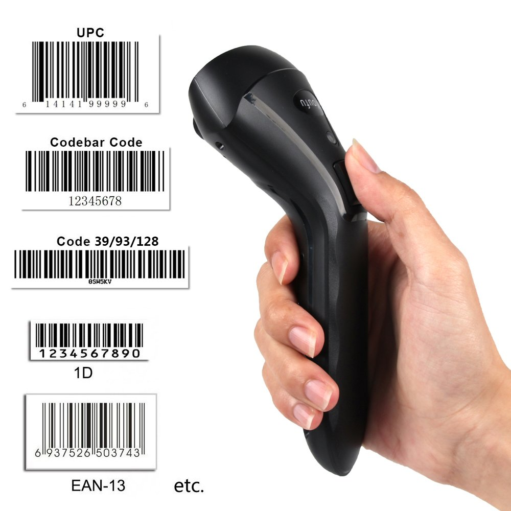 Wireless Barcode Scanner, 1D Handheld Inventory Laser Automatic Barcode Reader, 2-in-1 2.4GHz Wireless & USB2.0 Wired UPC scanners for Computer Laptop