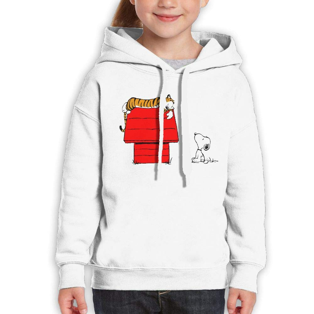Guiping Calvin and Hobbes (2) Boys and Girls Pullover Hooded Sweatshirt White S